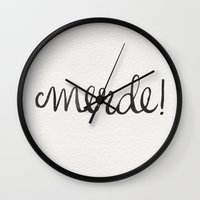 shit Wall Clocks featuring Shit! by Cat Coquillette