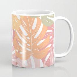 Monstera leaves Colorful Jungle leaves Palm leaves Tropical art Coffee Mug