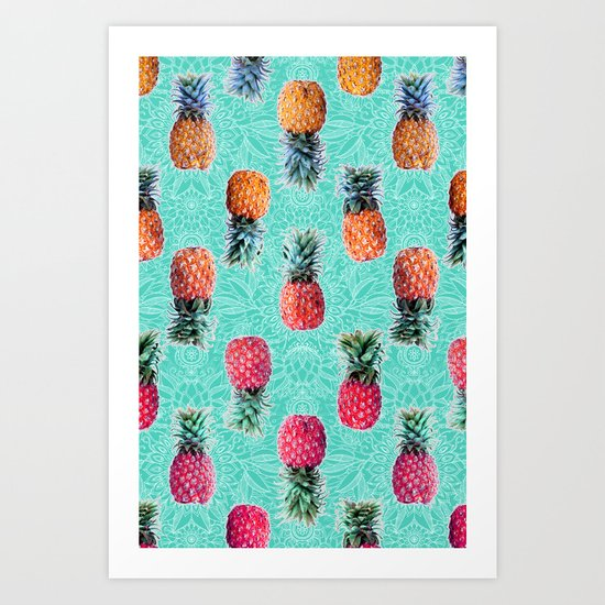 From Pineapple to Pink - tropical doodle pattern on mint Art Print