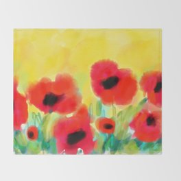 Red poppies - original design by ArtStudio29 - red flowers on yellow background Throw Blanket