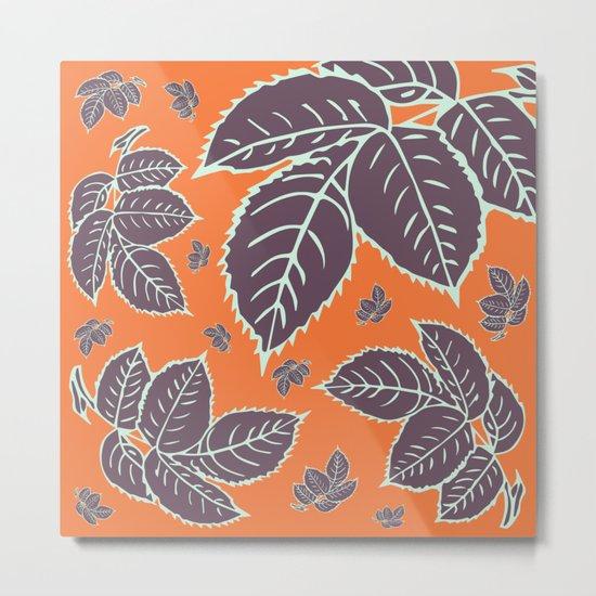 HAPPY LEAVES ON ORANGE (abstract flowers tropical) Metal Print