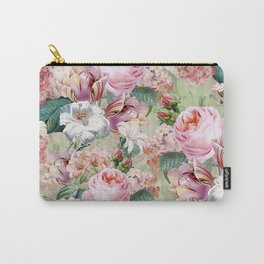 Vintage & Shabby Chic -Blush Pink Botanical Spring Roses Garden  Carry-All Pouch