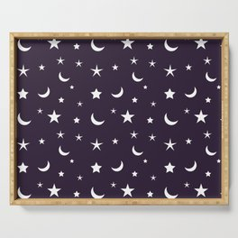 White moon and star pattern on purple background Serving Tray