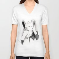 david bowie V-neck T-shirts featuring DECONSTRUCTION OF DAVID BOWIE  by Dianah B