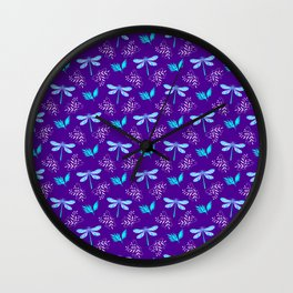 Pretty beautiful cute pink blue dragonflies, delicate little leaves elegant purple botanical pattern Wall Clock