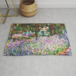 Claude Monet, The Artist's Garden at Giverny 1900 Artwork for Wall Art, Prints, Posters, Tshirts, Men, Women, Kids Rug