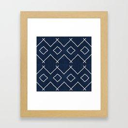 Bath in Navy Framed Art Print