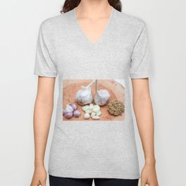 gon a wooden plank lies garlic mashed as well as knoll Unisex V-Neck