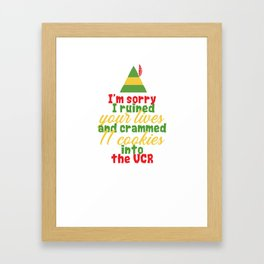 """""""I'm sorry i ruined your lives and crammed 1 cookies into the vcr"""" Festive Christmas Elf Design Framed Art Print"""