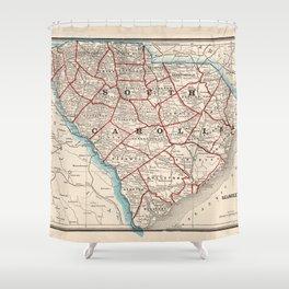 Vintage Map of South Carolina (1893) Shower Curtain