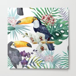 Tropical Bird Pattern 04 Metal Print