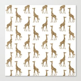 Gold Glitter Giraffe Pattern Canvas Print