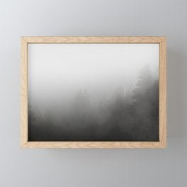 trees in fog - forest landscape - black and white Framed Mini Art Print