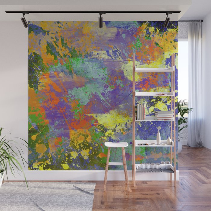 Signs Of Life Vibrant Random Paint Splatter Multi Coloured Abstract Wall Mural By Printpix