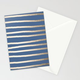 Simply Drawn Stripes White Gold Sands on Aegean Blue Stationery Cards