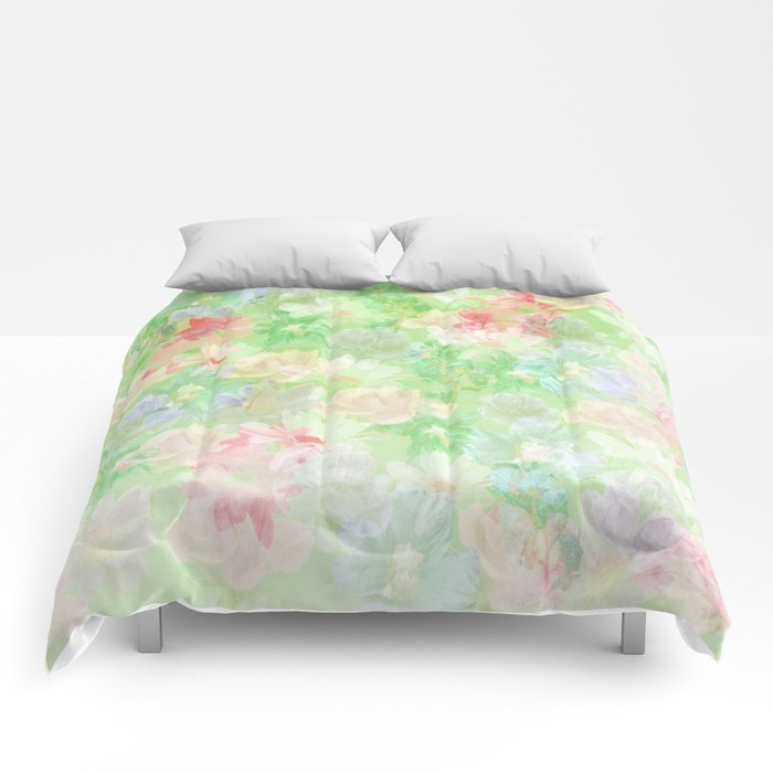 Mint Green Spring Floral Abstract Comforters
