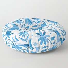 Mexican Otomí Design in Light Blue Floor Pillow