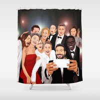 cartoons Shower Curtains featuring Cute Celebrity Selfie Photo Cartoons iPhone 4 4s 5 5s 5c, ipod, ipad, pillow case and tshirt by Three Second