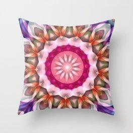 Pink Daisy Dream Flower Kaleidoscope Throw Pillow
