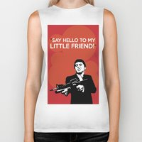 scarface Biker Tanks featuring Scarface Say Hello to My Little Friend by Florian Rodarte