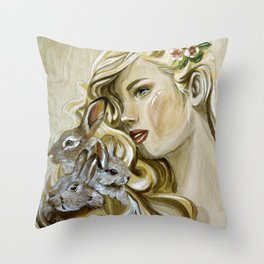 """Hunny Bunny"" Throw Pillow"