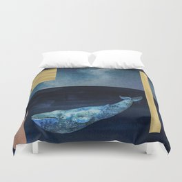 Blue Whale - Gold, Copper And Deep Blue Duvet Cover