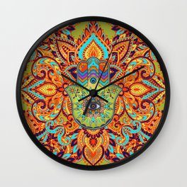 Colorful  Hamsa Hand -  Hand of Fatima Wall Clock