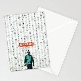 Banksy Interpretation on music sheet Stationery Cards
