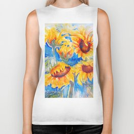 Sunflowers x 5 watercolor by CheyAnne Sexton Biker Tank