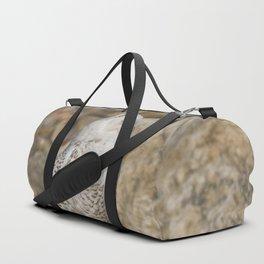 Snowy Owl on the Rocks Duffle Bag