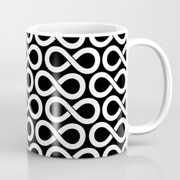 Black and White Infinity Symbols Pattern Coffee Mug