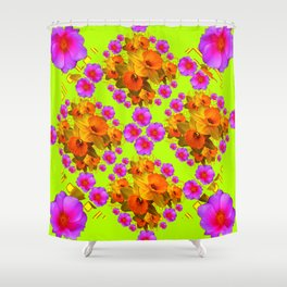 Chartreuse Color Golden Daffodil Rose Art Shower Curtain