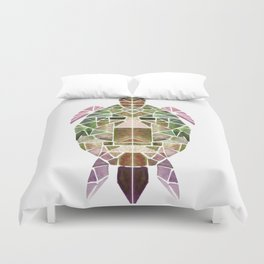 green mosaic turtle Duvet Cover