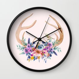 Antlers with Flowers Wall Clock