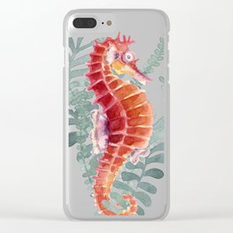 Red Sea Horse Watercolor Clear iPhone Case