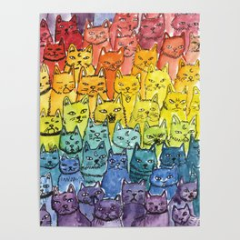 the pride cat rainbow  squad Poster