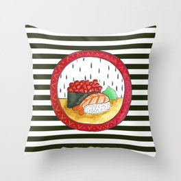 Sushi and stripes Throw Pillow
