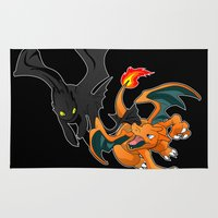 charizard Area & Throw Rugs featuring An Epic Dragon Battle by emodist