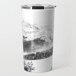Fresh Snow Dust // Black and White Powder Day on the Mountain Travel Mug