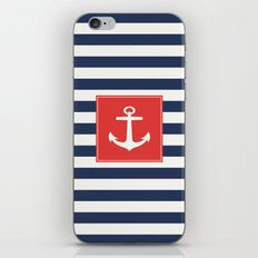 Anchor on blue and white stripes iPhone & iPod Skin
