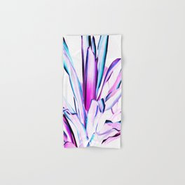 Pink Turquoise Purple Plant Leaves Abstract Hand & Bath Towel