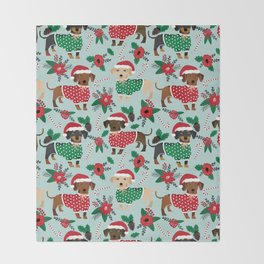 Dachshund christmas sweater florals poinsettia holiday red and white santa hat for dog lover Throw Blanket