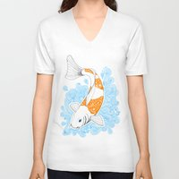 koi fish V-neck T-shirts featuring Koi fish  by Art & Be
