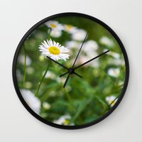 daisies Wall Clocks featuring Daisies by Michelle McConnell