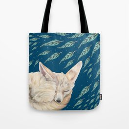 Fennec Fox Feather Dreams in Turquoise Tote Bag