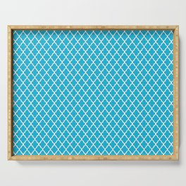 seamless oriental pattern blue grid - traditional pattern morocco / arabic style Serving Tray