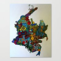 colombia Canvas Prints featuring COLOMBIA by MikAnsart