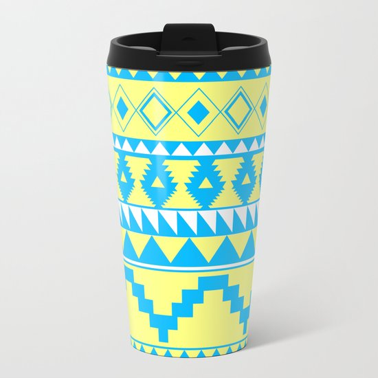 Aztec Pattern 2 Blue & Yellow Travel Mug