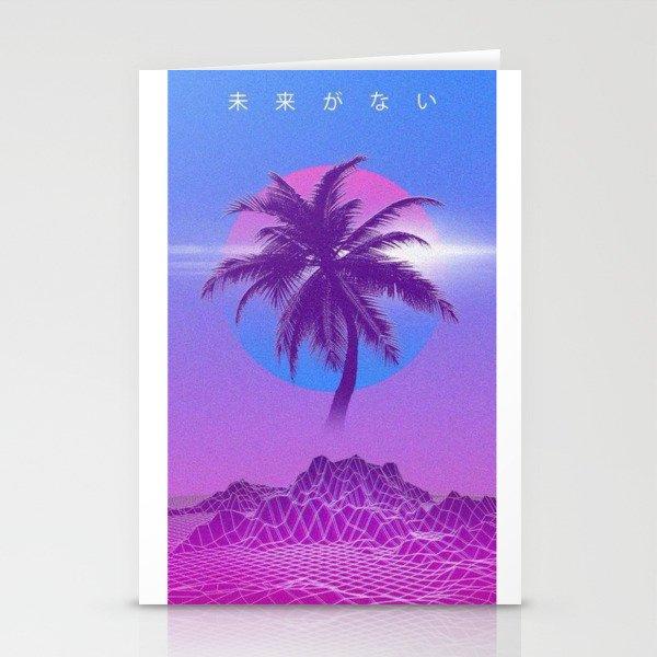 vaporwave palm tree stationery cards by ultramar society6