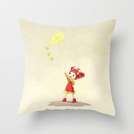Girl with Kite Throw Pillow